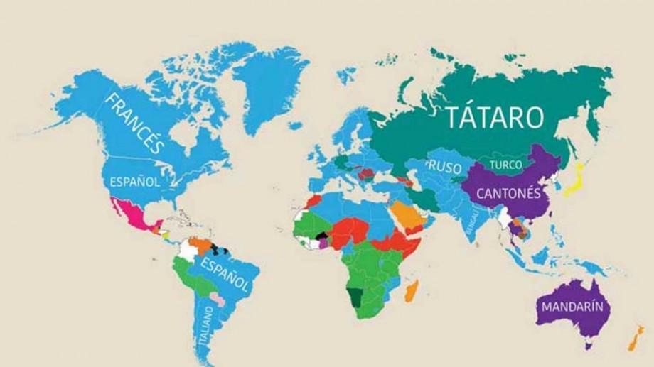 (foto) Harta lumii ce dezvăluie care este cea de-a doua cea mai vorbită limbă în diferite țări