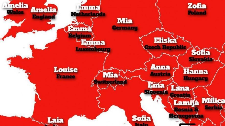 (foto) Harta celor mai populare prenume folosite în fiecare țară din Europa