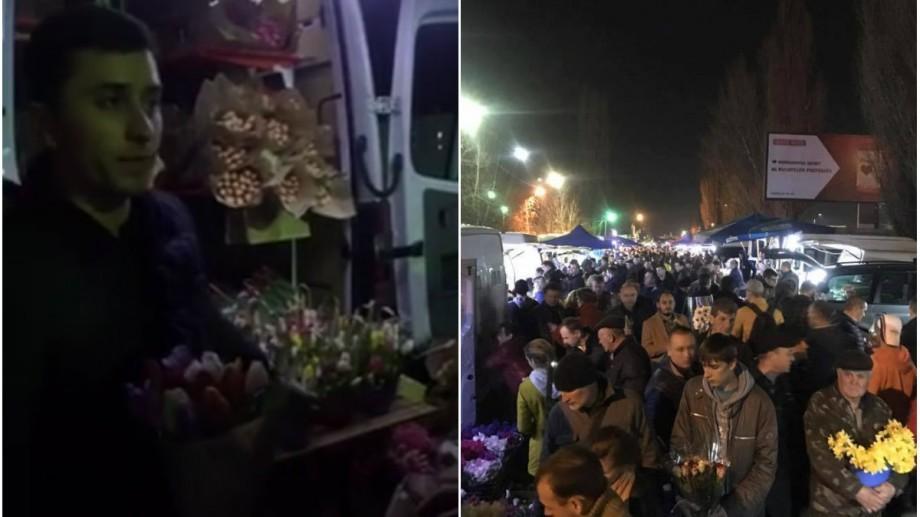 """(video) Cum a fost în ajun de 8 martie la Piața de Flori: """"Ținem florile în Red Bull ca să fie proaspete"""""""