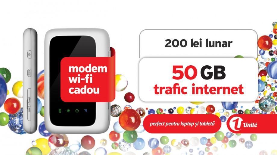 Unite: Abonamente noi cu trafic Internet mobil nelimitat, modem 4G cu Wi-Fi cadou și Multiscreen Go gratuit