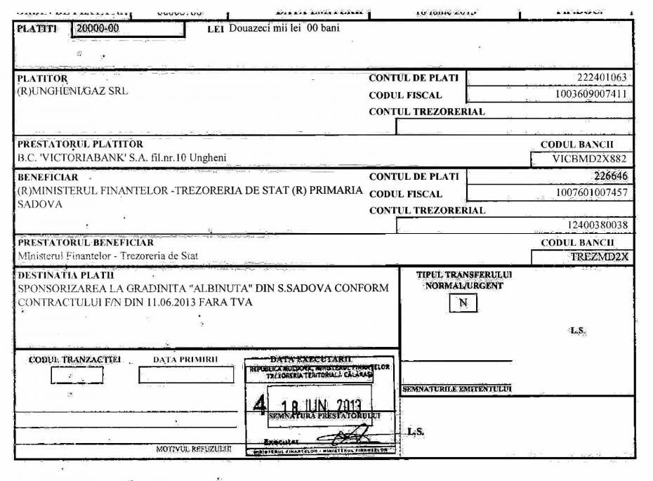 """Dispoziţia de plată care confirmă că suma de 20 de mii de lei a fost transferată de """"Ungheni-Gaz"""". Sursa: Primăria Sadova"""