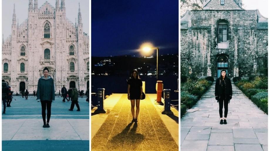 (foto) O tânără călătorește prin lume și se fotografiază în punctul simetric al unor locații celebre