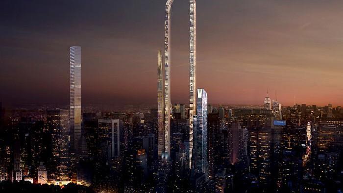 (foto) La New York se plănuiește construirea celui mai înalt zgârie-nori din lume. Va avea forma unei potcoave