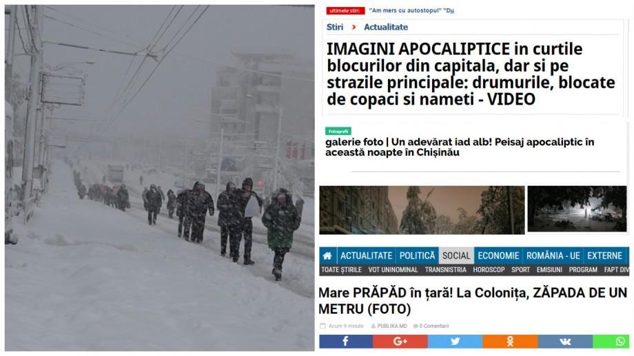 Halucinant! Titlurile despre apocalipsa albă care au spart presa online din Moldova