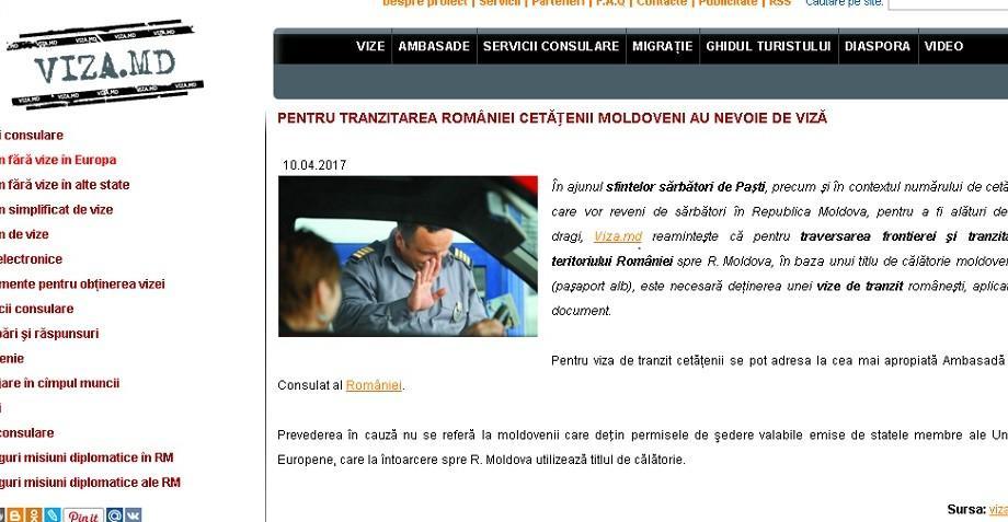 STOP FALS!: Pentru tranzitarea României, cetăţenii moldoveni au nevoie de viză