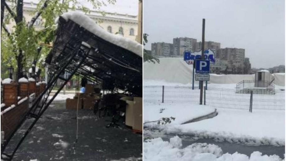 Locuri și localuri din Chișinău care s-au prăbușit în urma ninsorii și a căderii copacilor