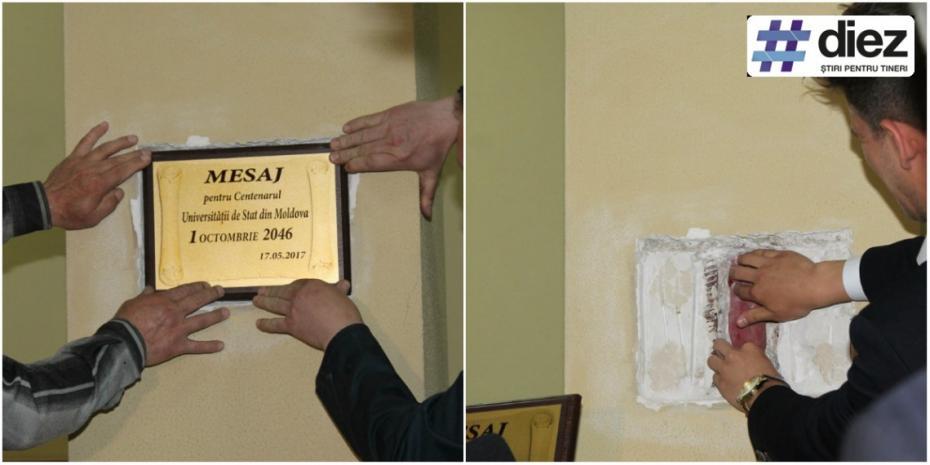 (foto) O nouă capsulă a timpului a fost sigilată la USM. Ce vor descoperi studenții peste 30 de ani