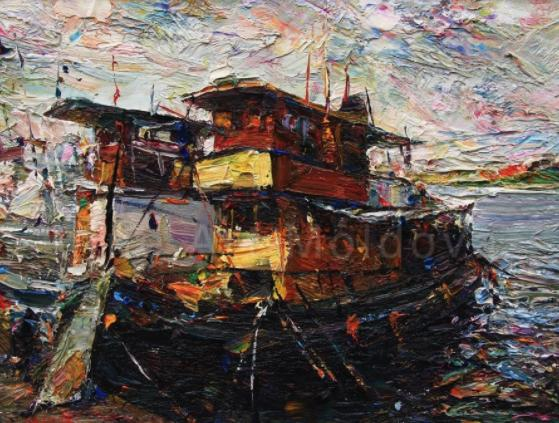 Boats on the River Channel (Sweden)/Oil on canvas/30 x 40cm/£1900
