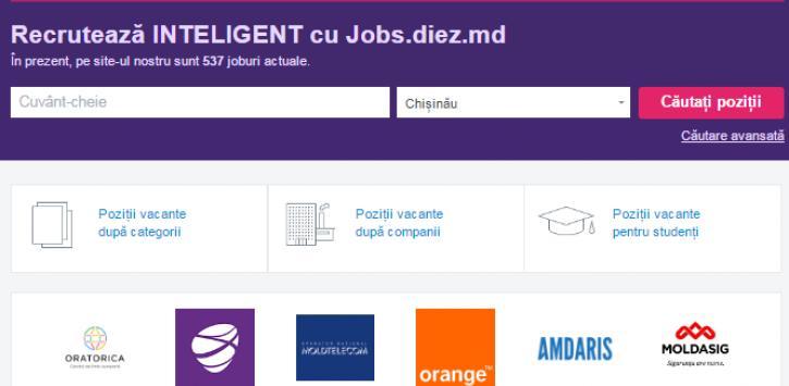 Jobs.diez.md s-a schimbat la față! Cum arată noul site și ce facilități oferă companiilor care sunt în căutare de personal