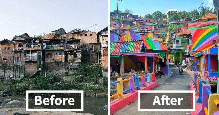 """(foto) """"Orașele-Curcubeu"""". Cu doar $22.000, Indonezia colorează cele mai sărace orașe din țară"""