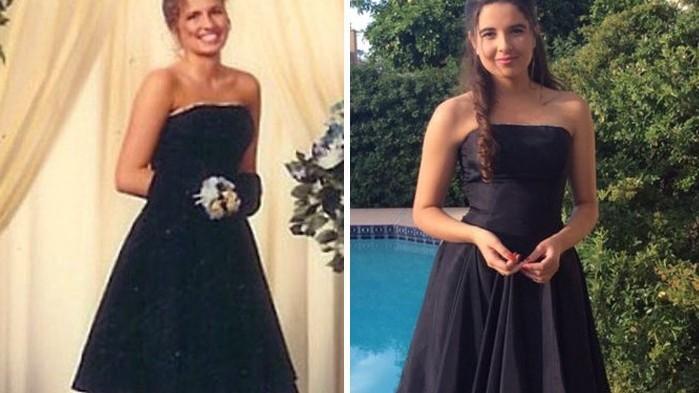 (foto) Originalitate: Au ales să meargă la balul de absolvire în aceleași ținute purtate de mamele lor