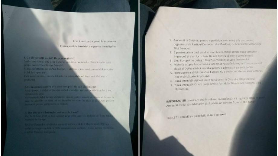 (foto) Lista cu întrebări și răspunsuri oferite de PDM pe care participanții la concertul din PMAN trebuiau să le știe