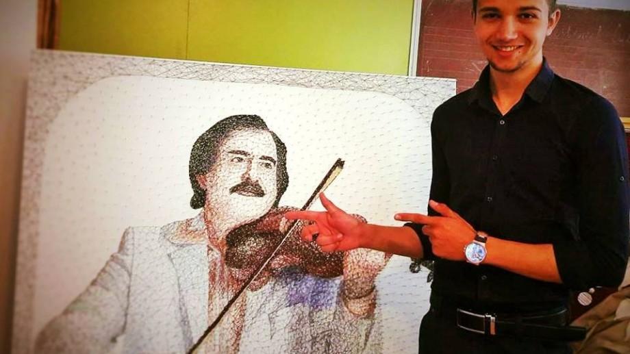 (foto) Un tânăr din Moldova a creat portretul lui Nicolae Botgros din cuie și fire de ață