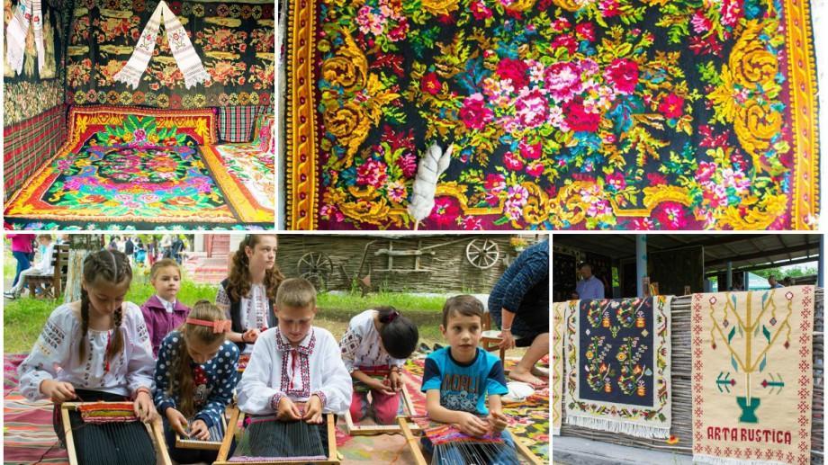"""(foto) Tradițiile au prins viață la Clișova Nouă! Ce țesături originale au fost prezentate la festivalul """"Frumos Covor Basarabean"""""""