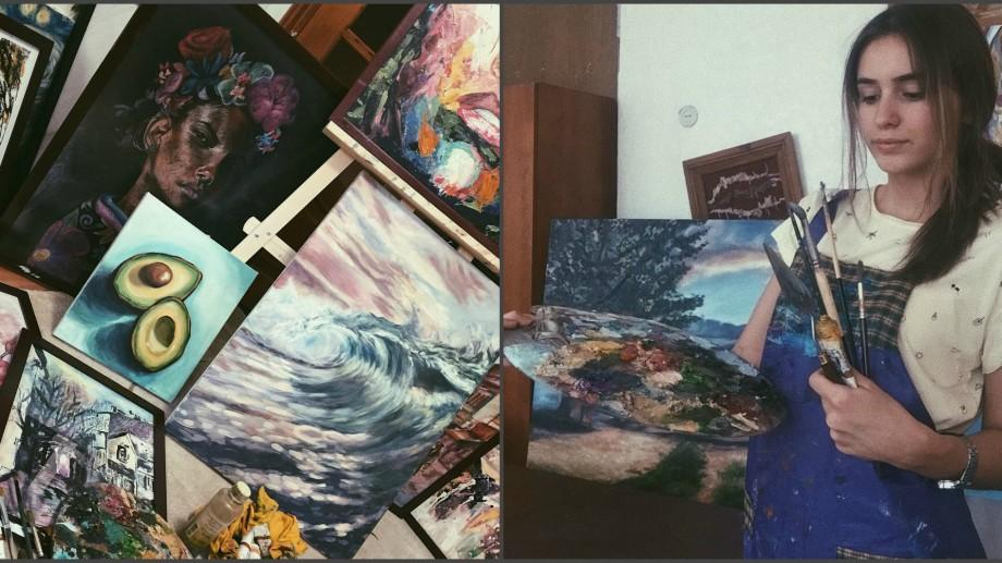 (foto) Cornelia Dudca, tânăra care a reușit la doar 15 ani să-și organizeze o expoziție, vrea să exploreze lumea cu pensula în mână