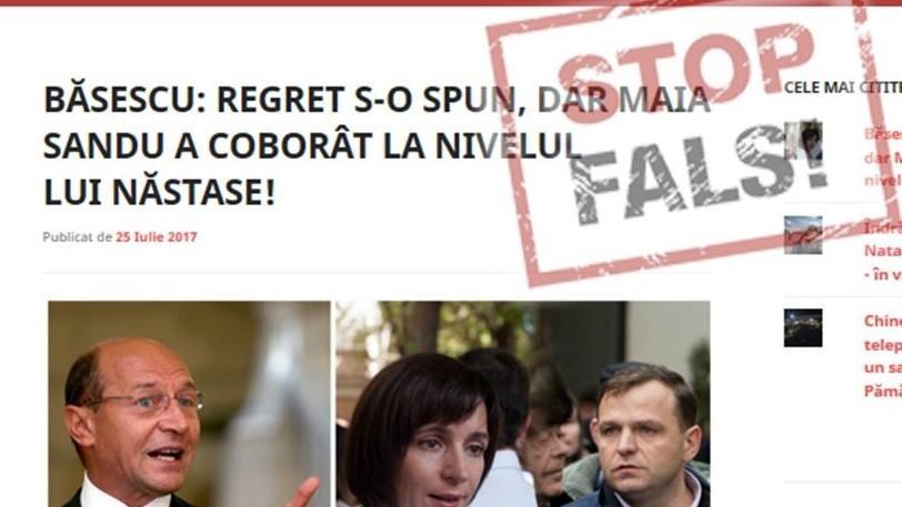 """Fals: Traian Băsescu a declarat că Maia Sandu """"a coborât la nivelul"""" lui Andrei Năstase"""