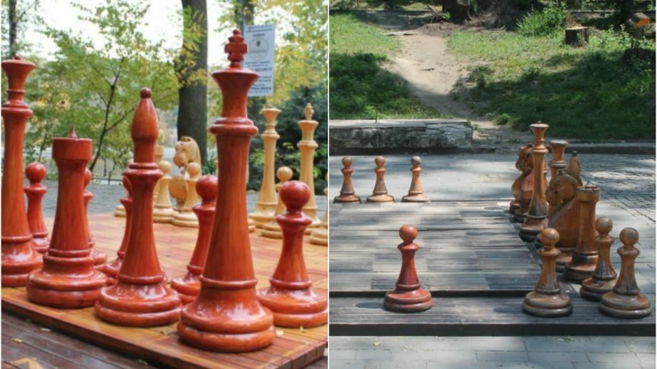 (foto) Înainte și după: Cum arată tablele gigante de șah din Capitală după aproape 4 ani de la instalare
