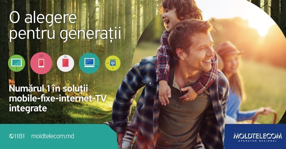 Moldtelecom – o alegere pentru generații. Numărul 1 în soluții integrate: mobile – fixe – Internet – TV