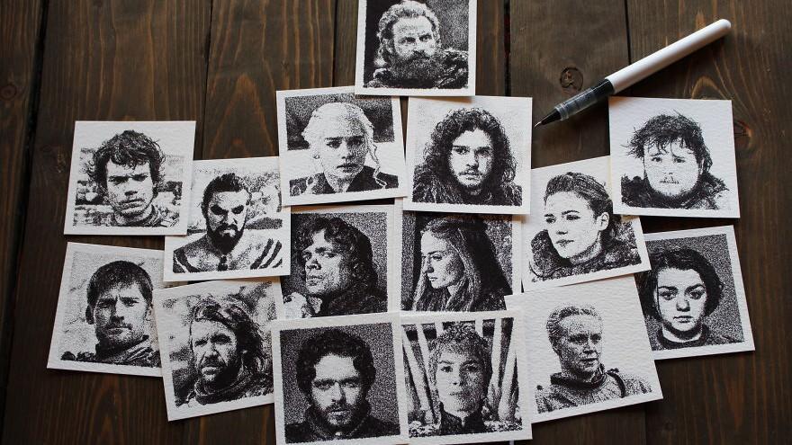 """(foto) Mini portrete ale personajelor din serialul """"Game of Thrones"""". Cine este tânărul care le-a creat"""