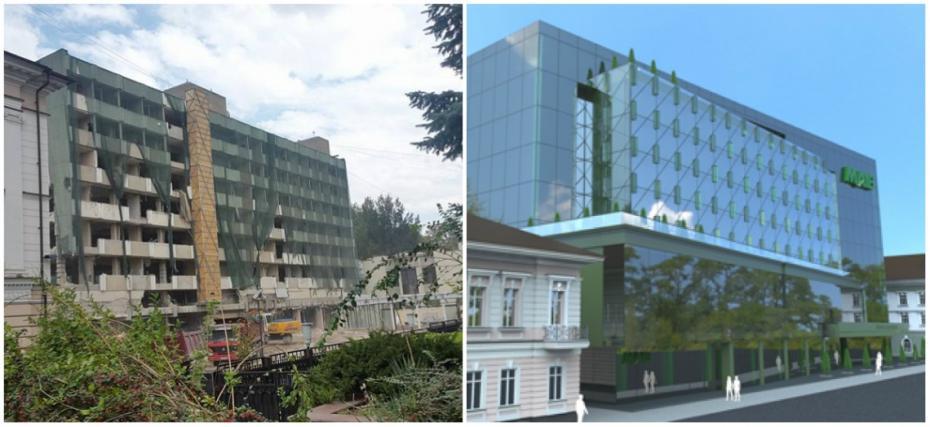(foto, video) Hotelul Codru va fi transformat într-o bancă. Cum derulează lucrările de reconstrucție și cum va arăta clădirea