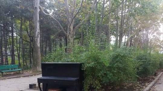 (foto) Pe Aleea Colorată din Parcul Valea Trandafirilor a fost deja instalat pianul pentru cei care vor să cânte în public