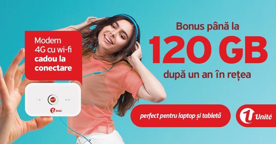 Bonus până la 120 GB Internet mobil, după 1 an de aflare în reţeaua Unite