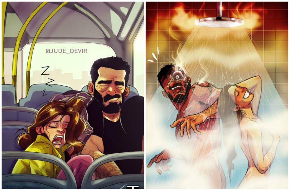 (foto) Relația cu soția într-o serie de ilustrații amuzante. Un artist din Tel Aviv creionează viața de cuplu