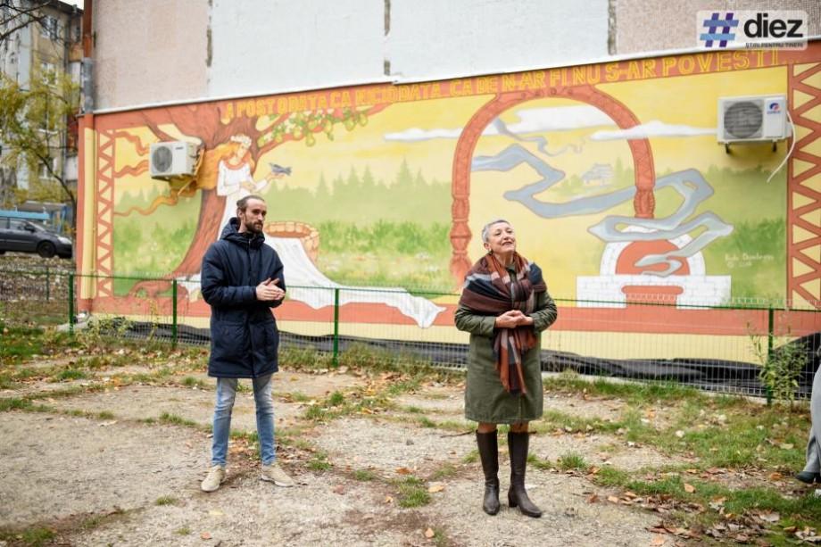 (foto) O nouă pictură murală a apărut pe un bloc de la Botanica. Opera, semnată de Radu Dumbravă, a fost inaugurată