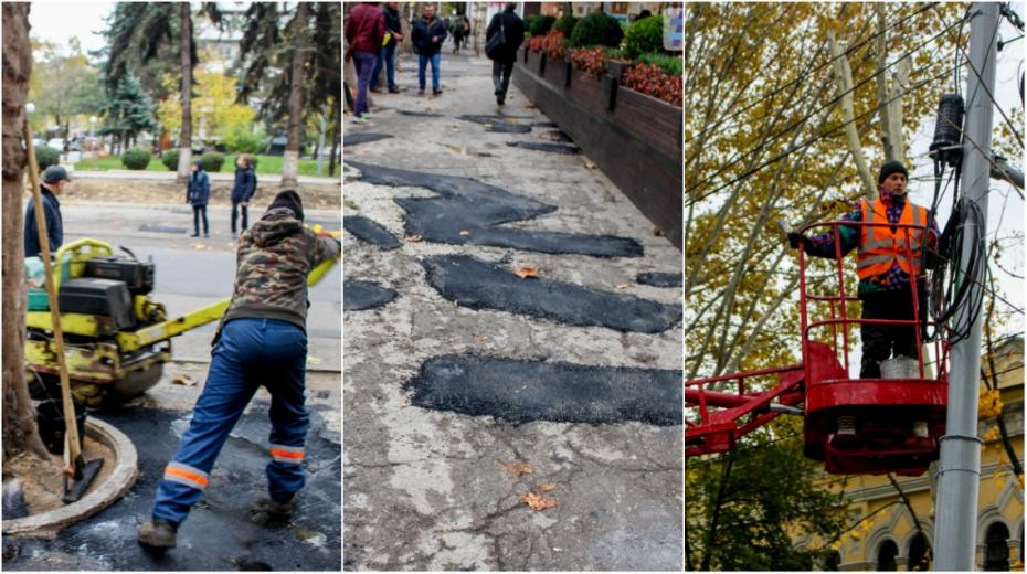 """(galerie foto) Cum decurg lucrările de amenajare și """"cârpire"""" a străzii 31 august din Capitală"""