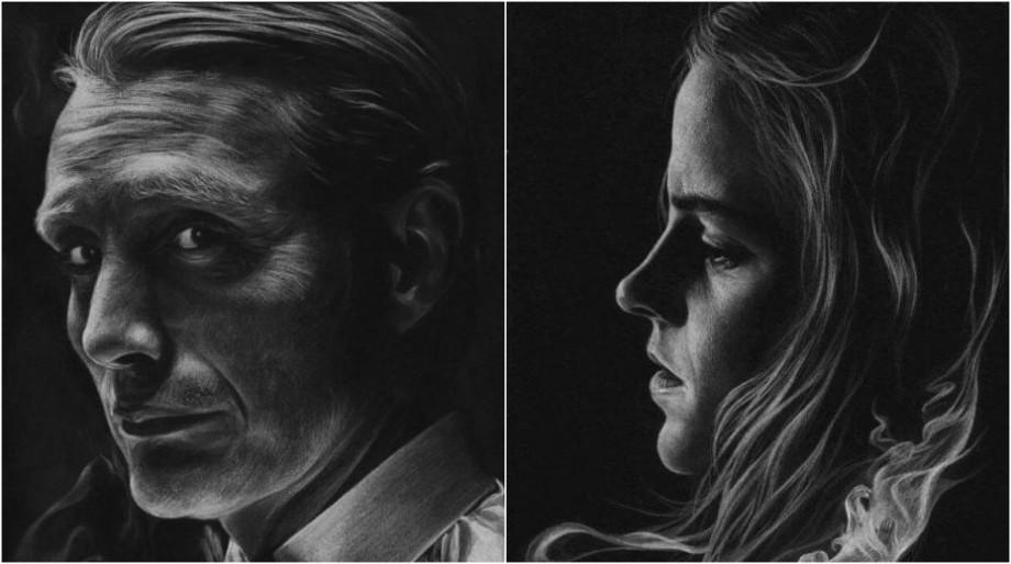 (galerie foto) O artistă din Estonia pictează portrete doar cu ajutorul unui creion alb și a unei pânze negre