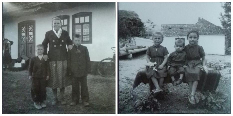 """în stânga - femeia care își îndreaptă băsmaua în dreapta - fetița care privește din spatele bârnelor și casa """"cu ochi"""""""