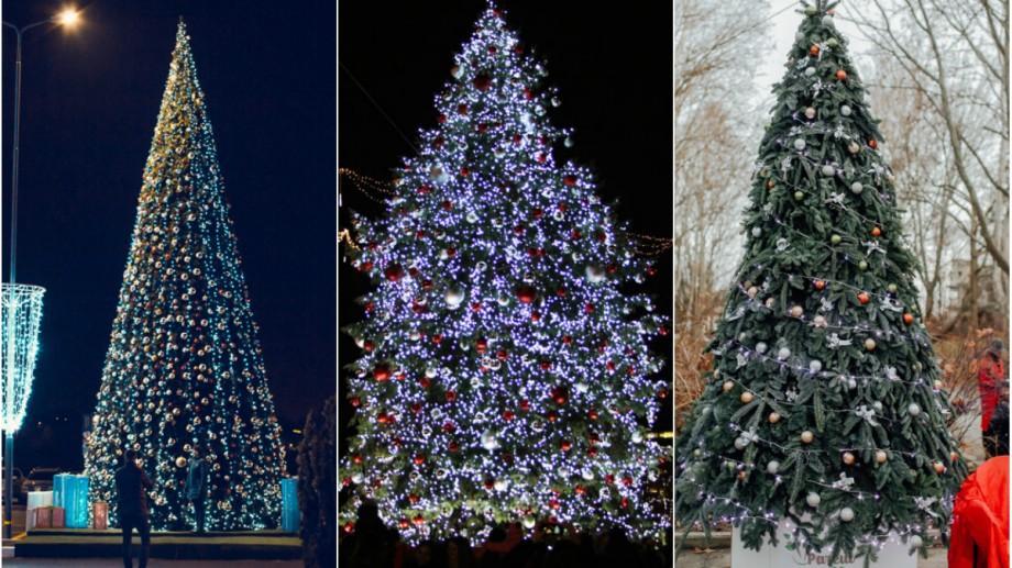 (foto) Decorați cu mii de globulețe și sute de metri de luminițe. Cum arată cei mai frumoși brazi din Capitală