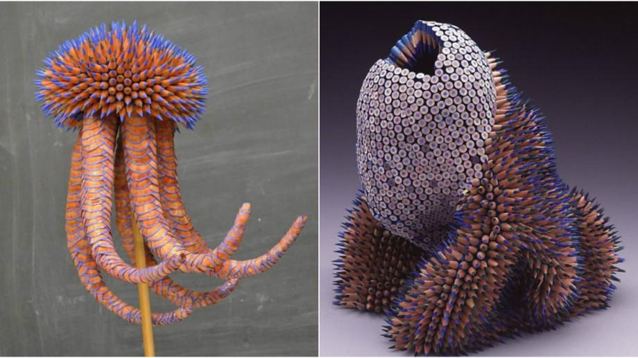 (foto) Meduze, arici și roboți. O artistă confecționează lucruri impresionante din creioane colorate