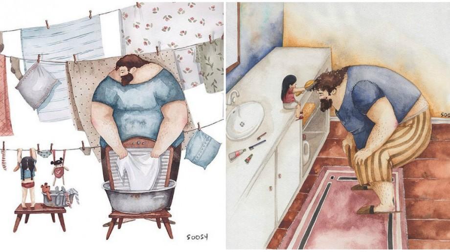 """(foto) """"Dad by my side"""". O artistă a reprezentat prin mai multe ilustrații relația specială dintre tați și fetițele lor"""