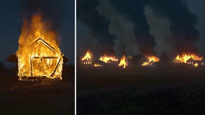 (foto) Un artist a dat foc mai multor case dintr-un sat pentru a realiza un proiect fotografic