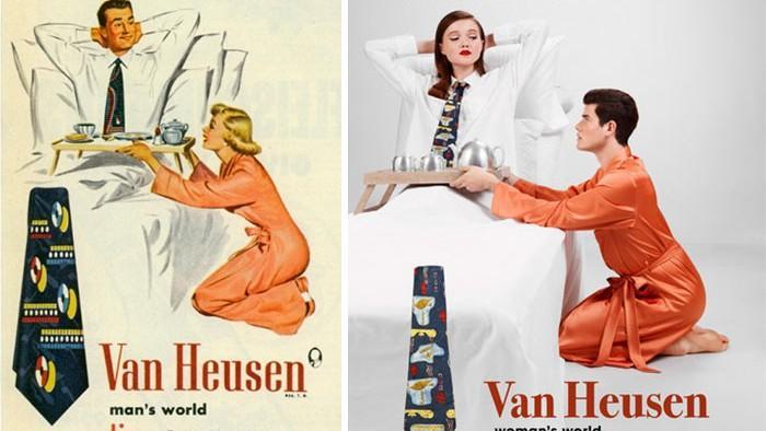 """(foto) """"Într-un univers paralel"""". Un fotograf a inversat rolurile de gen din anunțurile sexiste de altădată"""