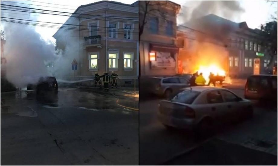 (video) O mașină a luat foc pe strada Alexandru cel Bun din Capitală. În regiune se circulă cu dificultate