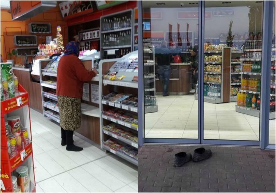 (foto)  Educație și respect la superlativ. O bătrână și-a scos galoșii înainte de a intra la o benzinărie