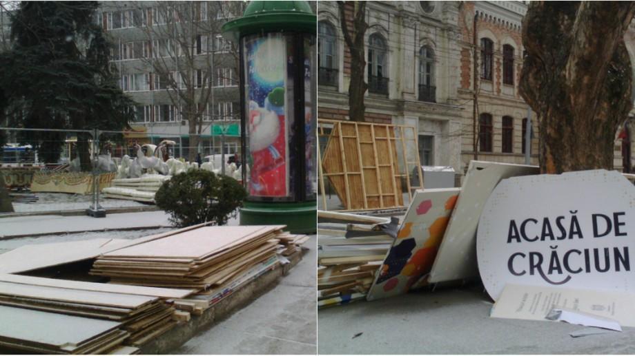 (galerie foto) Târgul de Crăciun s-a închis. Muncitorii dezinstalează căsuțele și caruselele de pe strada 31 august