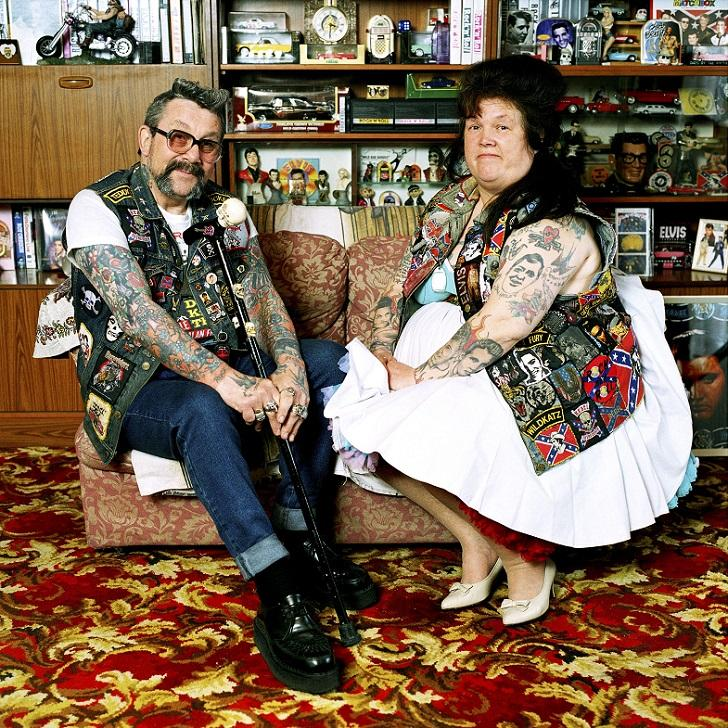 "MANDATORY CREDIT: Muir Vidler/REX Shutterstock. Only for use in this story. Editorial Use Only. Strictly no stock, books, advertising or merchandising without photographer's permission Mandatory Credit: Photo by Muir Vidler/REX Shutterstock (4896699a) Mick and Peggy Warner. ""I met Mick and Peggy Warner in the Tennessee Club, an old club for rock n' rollers"" Rebels Without A Pause: Portrait series of Britain's ageing rebels and mavericks, Britain - 2000 FULL COPY: http://www.rexfeatures.com/nanolink/qshk A photographer has shot a fascinating portrait series of Britain's ageing rebels and mavericks. Rebels Without a Pause by Muir Vidler documents those who have refused to let their stage of life define who they are - or curtail non-conformist lifestyles. They include pensioner mods and rockers, a fire-breathing retired circus performer and a Chinese Elvis impersonator."