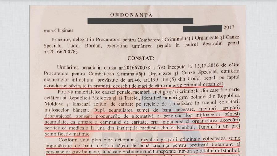 """(doc) RISE Moldova: Procuratura investighează cazul """"banilor din caritate"""" încă din 2016"""