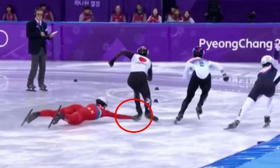 (video) Gest intenționat făcut de un nord-coreean la JO. A dorit să doboare de două ori un sportiv nipon la o cursă pe gheață