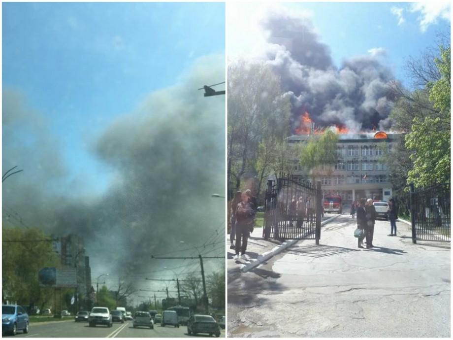 (foto, video) UPDATE: Incendiu la Institutul de Zoologie. Nouă autospeciale și peste 50 de pompieri luptă cu focul