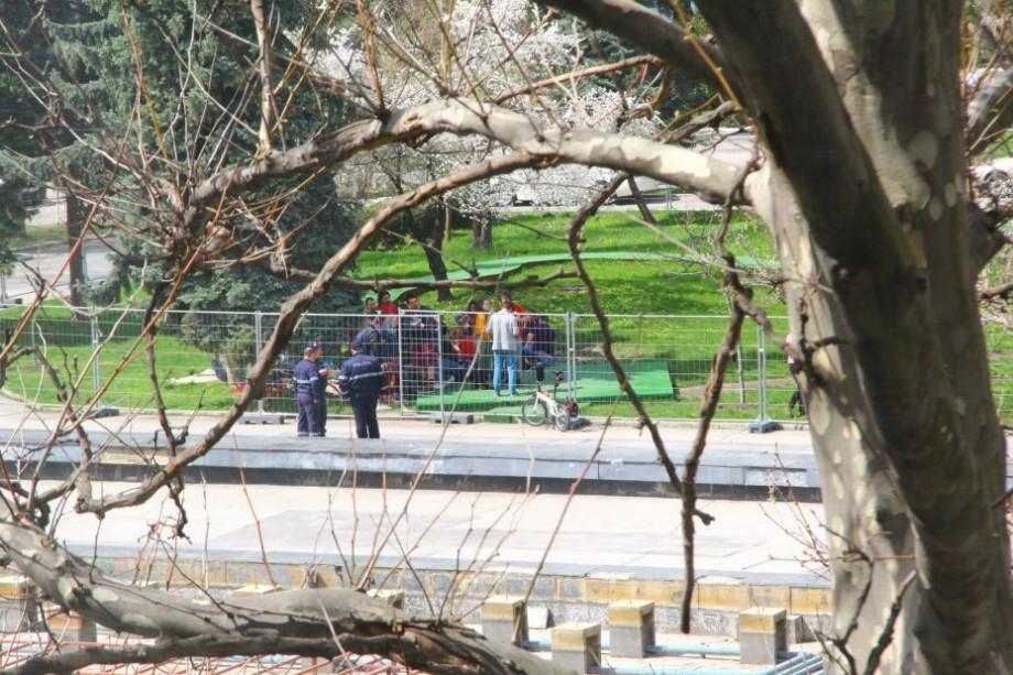 """(video) """"Elfii lui Moș Crăciun"""": Cum poliția încearcă să alunge tinerii care au decis să ia prânzul pe iarba verde de lângă Palatul Național"""
