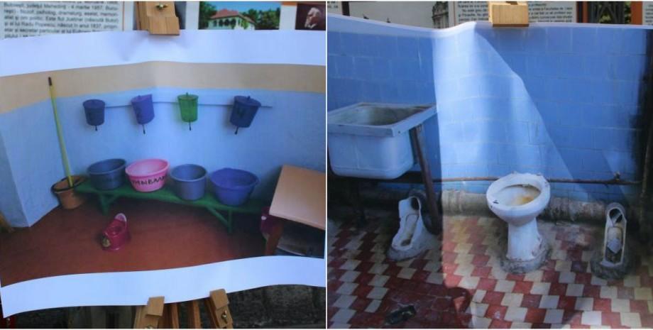 """(foto) """"Veceul este fața liceului"""". Imagini care surprind condițiile dezastruoase ale toaletelor școlare au fost expuse în centrul Capitalei"""