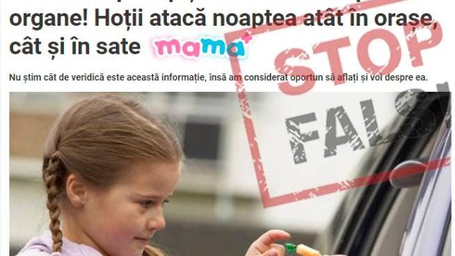Stop Fals: Zeci de copii răpiți pentru organe: Hoții atacă în orașe și în sate