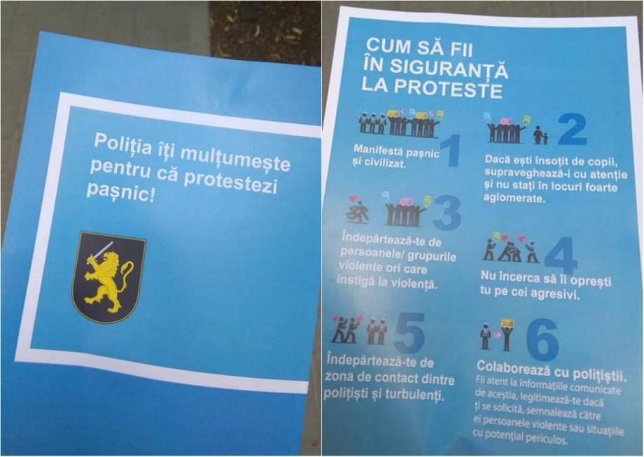 (foto) Angajații MAI au informat protestatarii despre corecta desfășurare a manifestațiilor