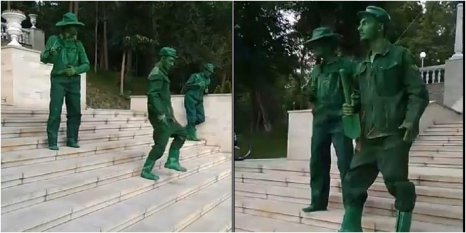 """(video) Mai multe statui au """"înviat"""" pe scările din parcul Valea Morilor. Cum au reacționat oamenii"""