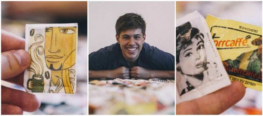 Pasiunea dulce a unui tânăr din Sărata Galbenă: Are o colecție de 900 de pachețele de zahăr