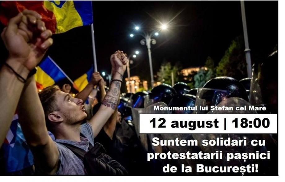 La Chișinău va avea loc o mișcare de solidarizare cu protestatarii pașnici de la București